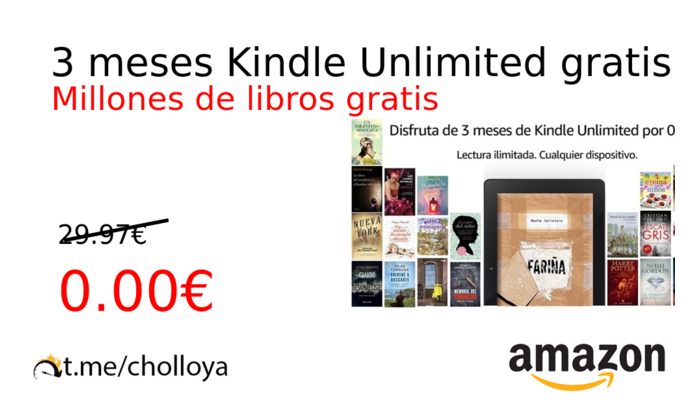3 meses Kindle Unlimited gratis